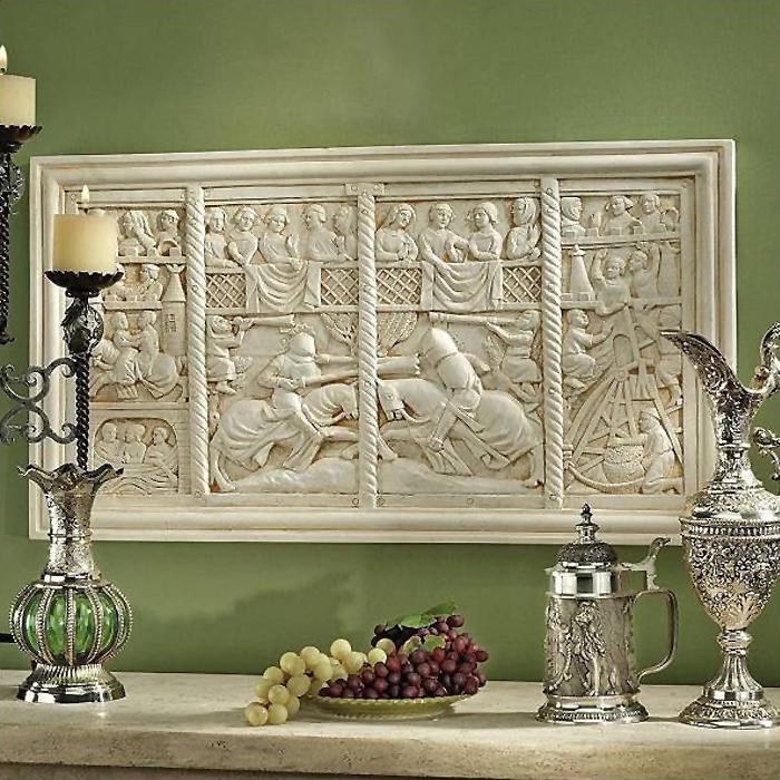 中世騎士の馬上試合 壁掛け彫刻 壁画レリーフ 彫像置物 彫刻/ The Medieval Joust Sculptural Wall Frieze(輸入品