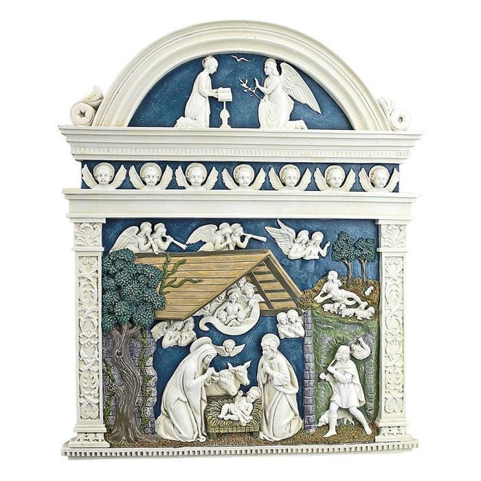 デザイン・トスカノ製 デルラ・ロビア作 キリストの誕生 壁彫刻 彫像/ the Birth of Christ's Nativity(輸入品)