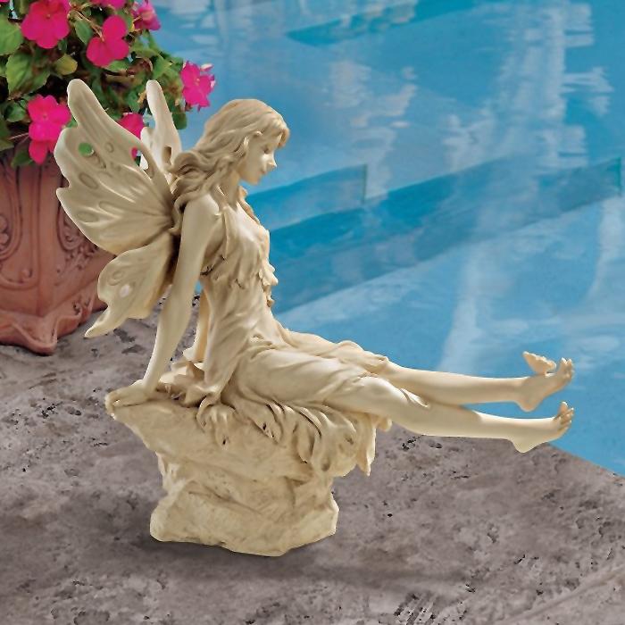 足を投げ出して休む妖精 彫像 美しいフェアリー彫刻 古い象牙色/ Twinkle Toes Fairy Statue, Ancient Ivory(輸入品