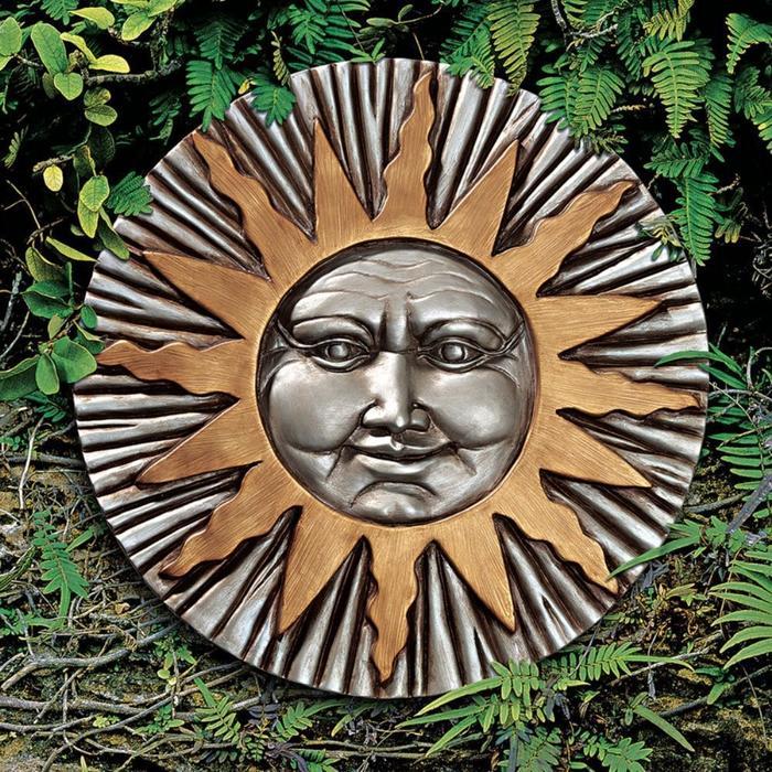 デザイン・トスカノ製 昇る(人面)太陽の壁掛け彫刻 インテリア雑貨 壁彫刻、彫像/ Rising Summer Sun Wall Sculpture(輸入品