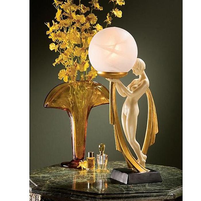 デゼリ アールデコ調の照光彫刻(彫像) テーブルランプライト/ The Desiree Art Deco Lighted Sculpture【輸入品