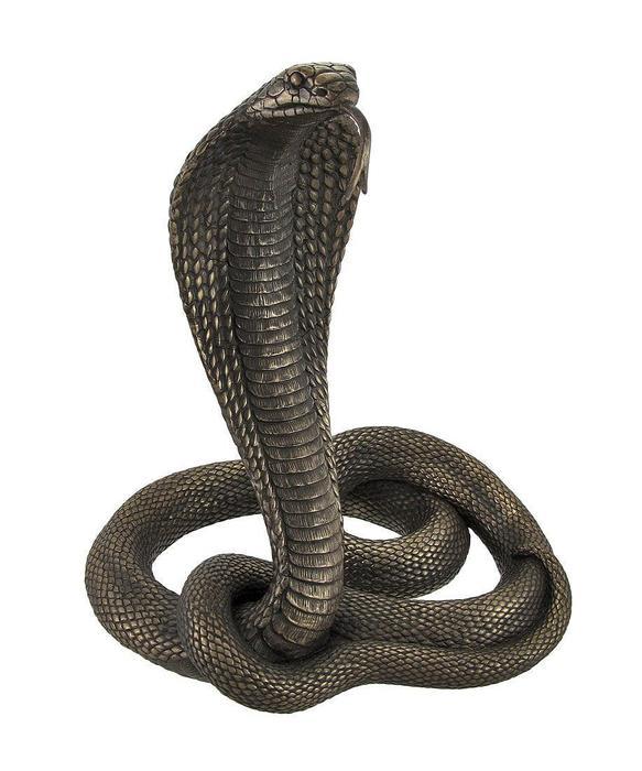 大きなキングコブラ彫像 彫刻 毒蛇スネーク 爬虫類ブロンズ風/ Large Bronzed King Cobra Statue(輸入品