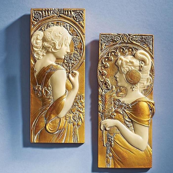 アールヌーボー ウォール彫刻「春 秋」 アルフォンス・ミュシャ作 「春の乙女、秋の乙女」壁彫刻 彫像(輸入品)
