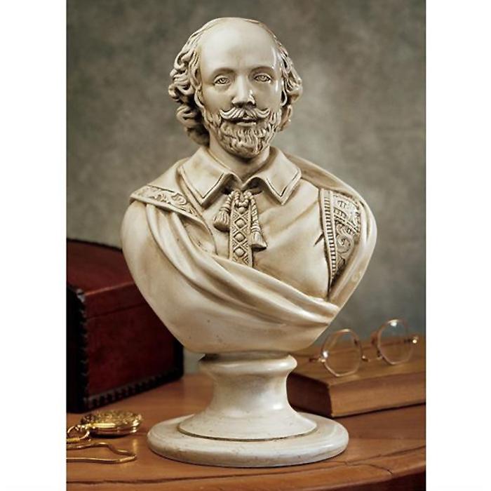 西洋偉人胸像 ウィリアム・シェイクスピア彫像 大理石風彫刻/ William Shakespeare Desktop Sculptural Bust in Antique Stone[輸入品