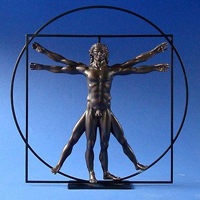 レオナルド・ダ・ヴィンチ ウィトルウィウス的人体図 彫像 置物 彫刻/ Vitruvian Universal Man by DaVinci Bronze (輸入品