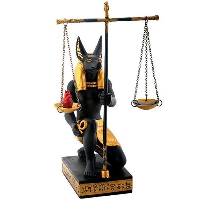 西洋彫刻 正義を計る アヌビス神 古代エジプト 置物 彫像 彫刻/ Black and Gold Anubis Scales of Justice[輸入品]