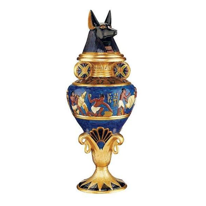 古代エジプト グランド・アヌビス神が蓋になった壺 彫像 彫刻 美術品/ Design Toscano Grand Anubis Lidded Urn(輸入品