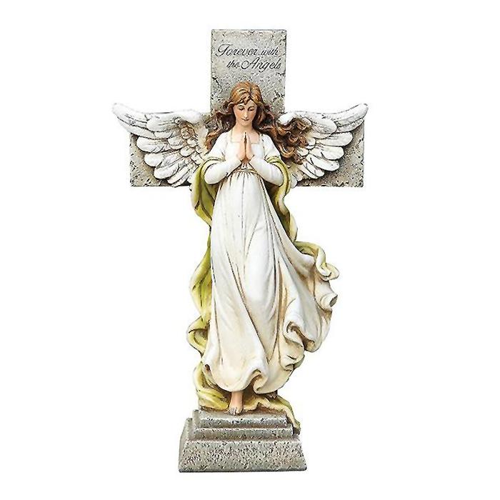 天使の十字架 記念碑、バースガーデン像 レジン製 彫像 彫刻/Standing Angel Memorial Cross with Versegarden Statue(輸入品