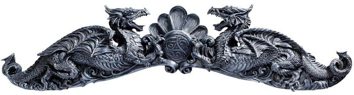 エーブベリー彫刻壁 ペディメントのドラゴン紋章/ Heraldic Dragons of Avebury Sculptural Wall Pediment[輸入品