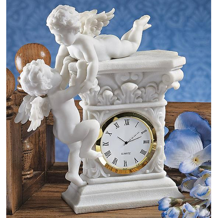 バロック風 2人のケルビム(智天使)置時計 彫刻 彫像/ Baroque Twin Cherubs Desktop Clock(輸入品