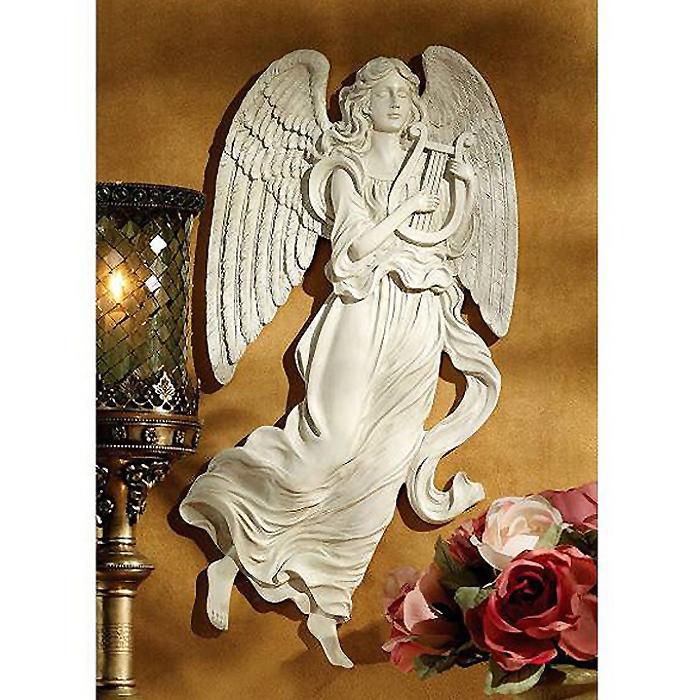 天国の調べを奏でる天使の彫刻 壁掛け彫像 インテリア装飾/ Heavenly Music Angel Wall Sculpture(輸入品