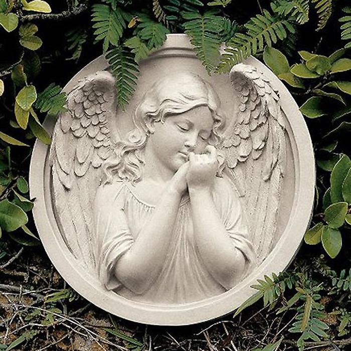 エンジェル(天使)の思い 丸い壁掛け彫像 壁飾り 装飾彫刻/ Thoughts of an Angel Sculptural Wall Roundel(輸入品