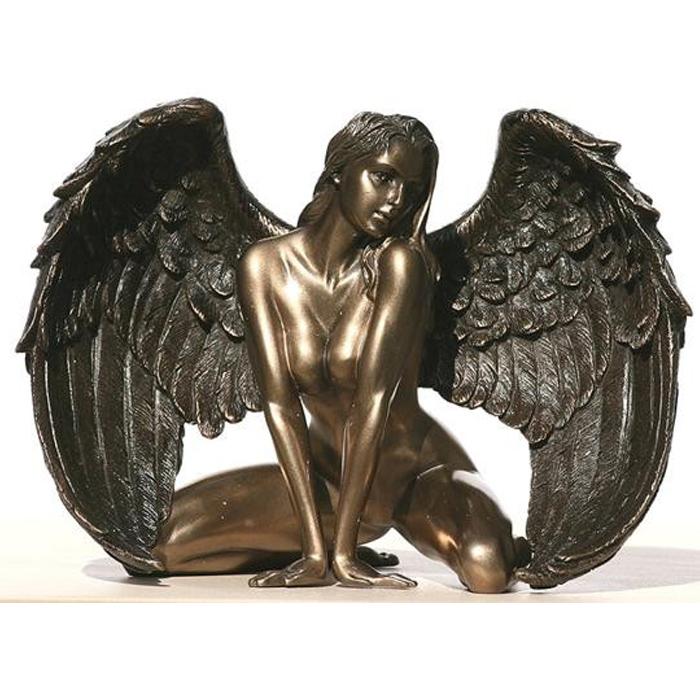 跪く 女性天使 ヌードウィングエンジェル ブロンズ風 彫像 彫刻/Bronzed Finish Kneeling Nude Winged Female Statue(輸入品