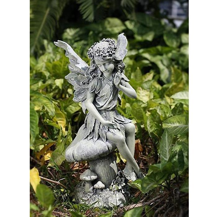 ガーデン彫刻 キノコに座る天使 ストーン風 彫像/ Seated Angel on Mushroom Garden Statue, 16-1/2-Inch Tall [輸入品