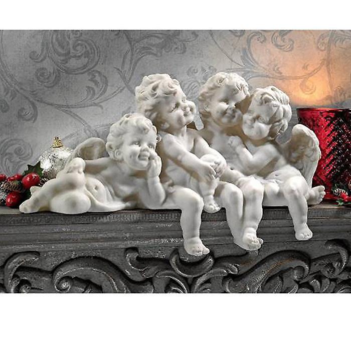 ケルビム枢機卿会議 お座り 子供の天使達(エンゼル)彫刻 大理石風彫像/ Cherub Conclave Shelf Sitting Angel Sculpture[輸入品