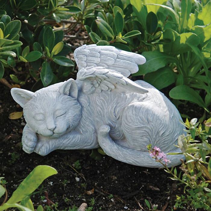 眠る猫(ネコ)ねこの天使 メモリアルエンジェル ガーデン彫刻 彫像/ Cat Memorial Angel Pet Statue(輸入品