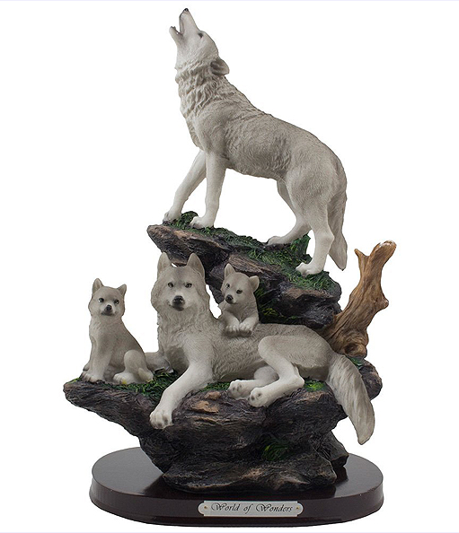 岩の上の灰色狼と家族 彫像置物 彫刻/ Howling Wolf and Family on a Rock Statue for Decorative Lodge and Rustic Cabin Decor(輸入品)