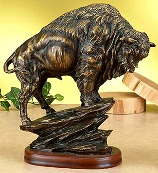 アンティーク ブロンズ風仕上げ アメリカンバッファローバイソン 彫像 / Antiqued Bronze Finish American Buffalo Statue Bison[輸入品