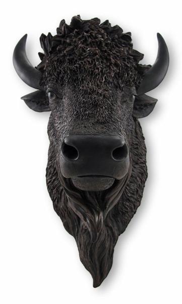 リアルなブラックバッファロー/バイソン頭部(ウォールマウントヘッド) 彫刻 彫像/ Black Buffalo / Bison Wall Mount Head(輸入品