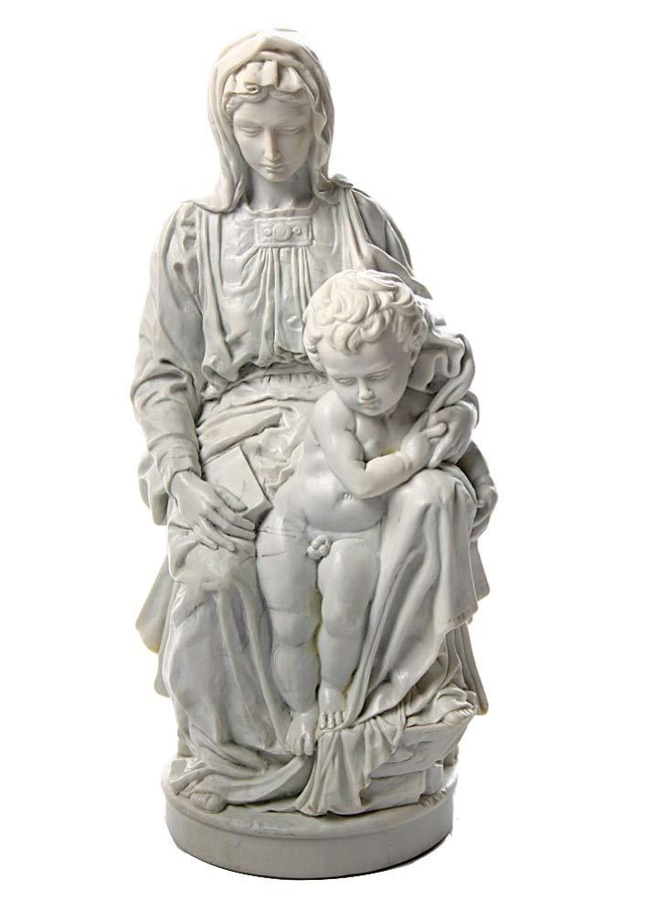 ミケランジェロ 1504年作「ブルージュ聖母教会の聖母子像」西洋彫刻 洋風彫像 聖母マリア像 イエス・キリスト(輸入品)