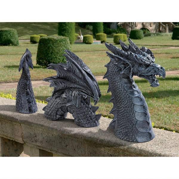 ガーデン ドラゴン アクセント彫刻 石像 ファルケンベルク城のドラゴン 彫像/ The Dragon of Falkenberg Castle Moat Lawn Statue(輸入品