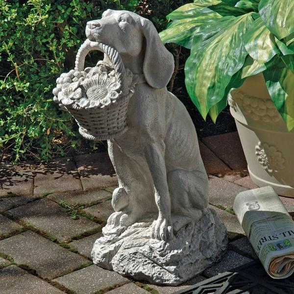 デザイン・トスカノ製 人間の親友 花籠を咥える犬の像 ガーデン彫像 彫刻(輸入品)