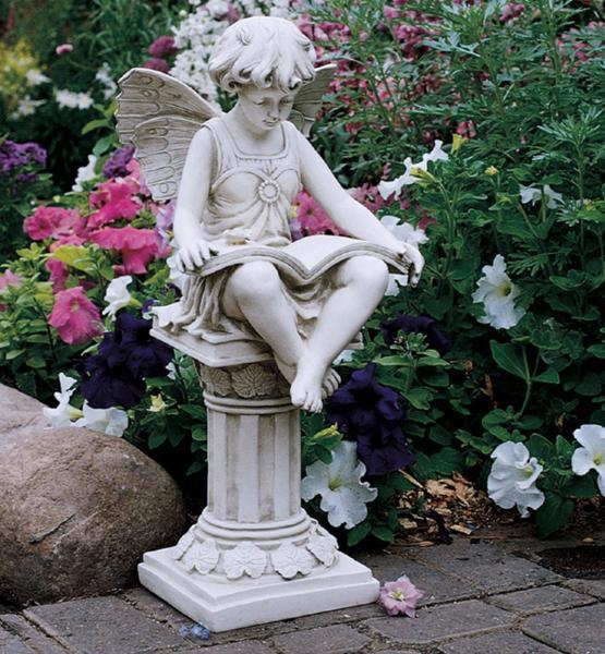 読書する妖精(フェアリー) 英国ガーデン彫像 彫刻インテリア/The British Reading Fairy Garden Statue(輸入品