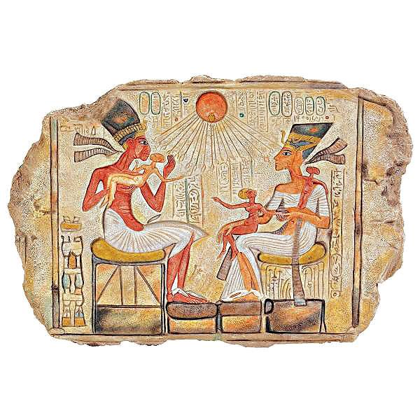 ファラオ アメンホテプ4世と王妃 ネフェルティティとその娘 古代エジプト文明 壁画レプリカ 彫像/Akhenaton, Nefertiti(輸入品