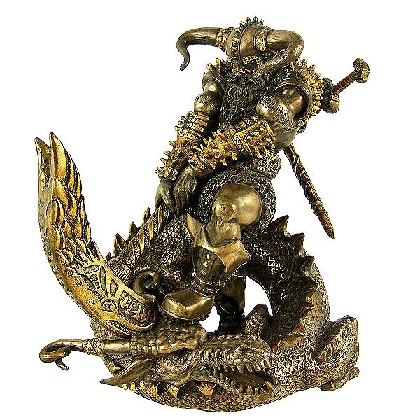 パガンハンマーを持った 北欧の神 トール ブロンズ風彫像 / Norse God Thor Bronzed Finish Statue Pagan Hammer(輸入品