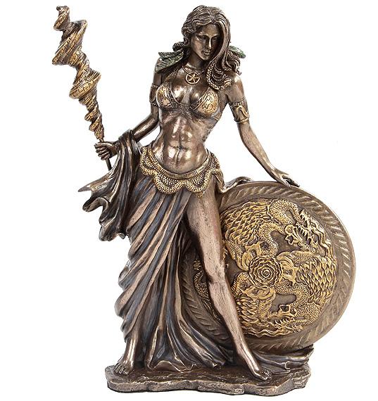 北欧神話の女神 フリッグ ブロンズ風仕上げ 彫像 高さ;約24cm / Bronze Finished Frigga Norse Goddess Norse Mythology-2014g(輸入品
