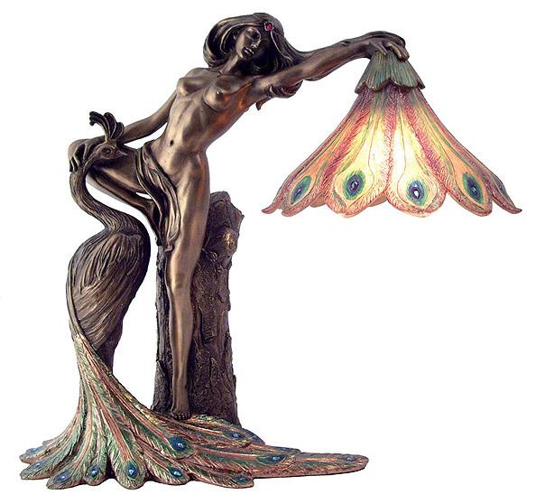孔雀と少女ランプ アールヌーボー彫刻 彫像/ Art Nouveau Nude Lady Peacock Lamp Sculpture(輸入品