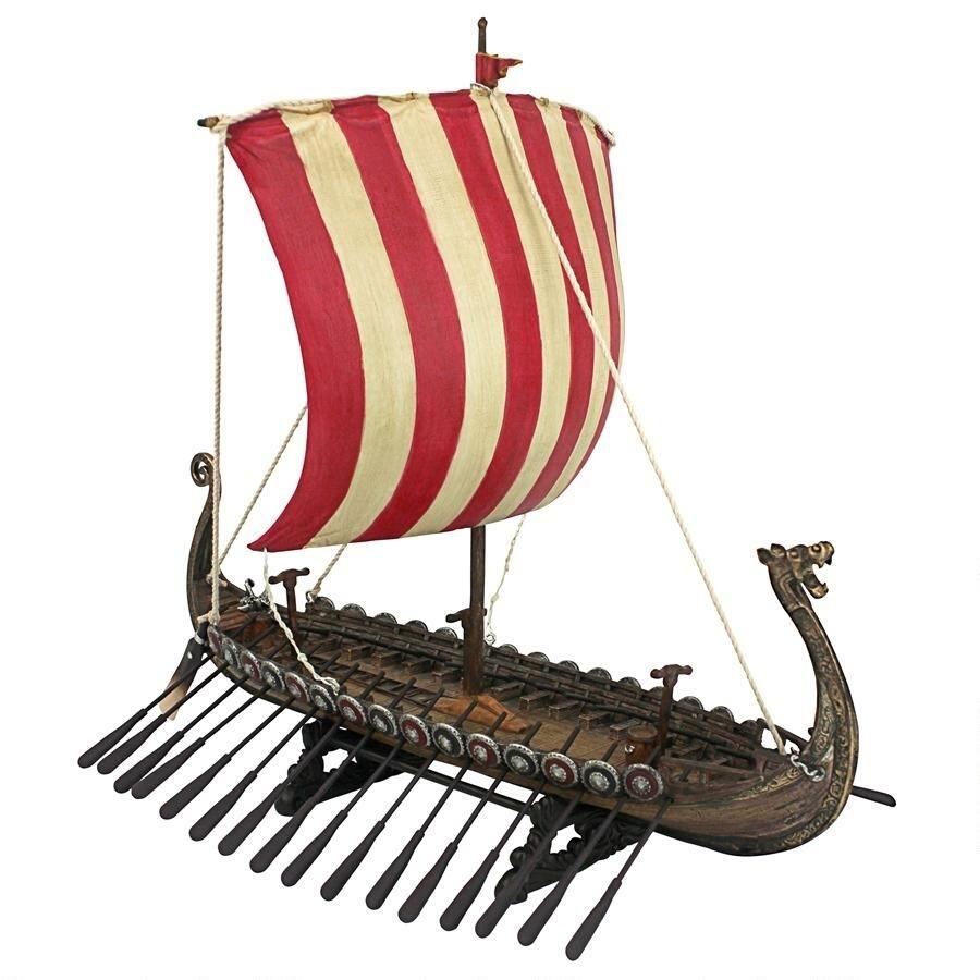 デザイン・トスカノ製 「ドレカー」 バイキングのレプリカ 船モデル ロングシップ コレクティブル・ミュージアム 彫像、彫刻(輸入品