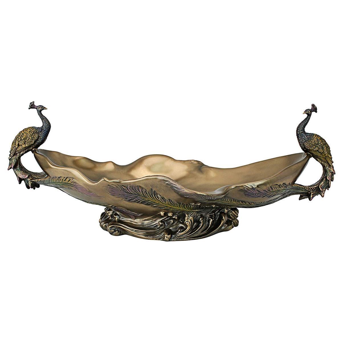 デザイン・トスカノ製 孔雀(ピーコック)の装飾的センターピース彫刻ボウル 置物 彫像(輸入品