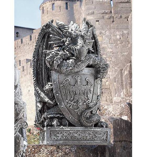 シールド(盾)を持ったアーサー王のドラゴン彫像/ Design Toscano Shield, the Arthurian Dragon Statue(輸入品
