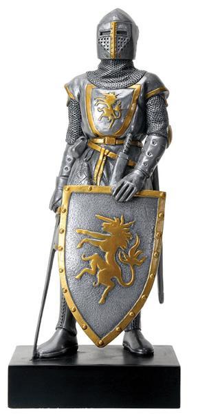 シルバーカラー フランス騎士デザイン 起立彫像 彫刻/ Silver Colored French Knight Design Standing Statue in Full Armor(輸入品)