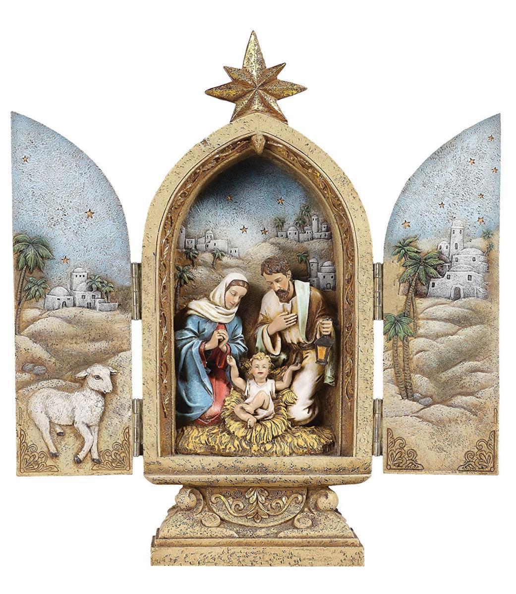 ヨセフ・スタジオ製 聖家族の三連祭壇画 高さ 約25cm彫像 彫刻/ Joseph's Studio by Roman Holy Family Triptych Figurine(輸入品)