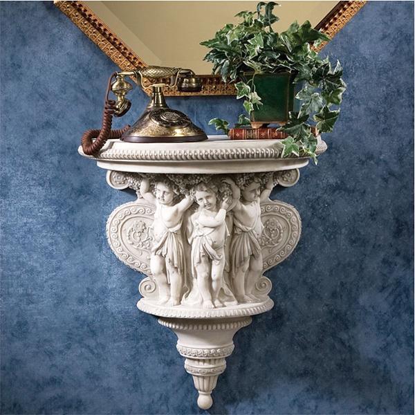 洋風飾り棚 ケルビム(天使)のワイン収穫祭 彫刻 棚壁コンソール 棚壁彫像/ Cherubs of the Wine Harvest Sculptural Wall (輸入品