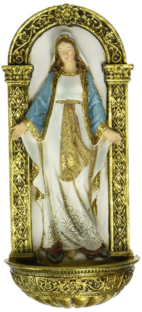 ヨセフ・スタジオ製 聖母マリア 洗礼盤 高さ 約18cm 彫刻 彫像/ Roman Exclusive Our lady of Grace Holy Water Font Figure(輸入品)