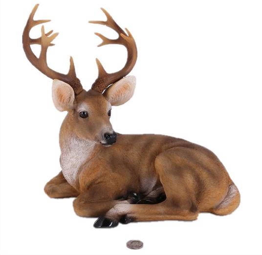 12本の枝角を持った、小さな、牡鹿の彫像/ Small Buck Statuary Twelve Point Resin Deer Statue (輸入品