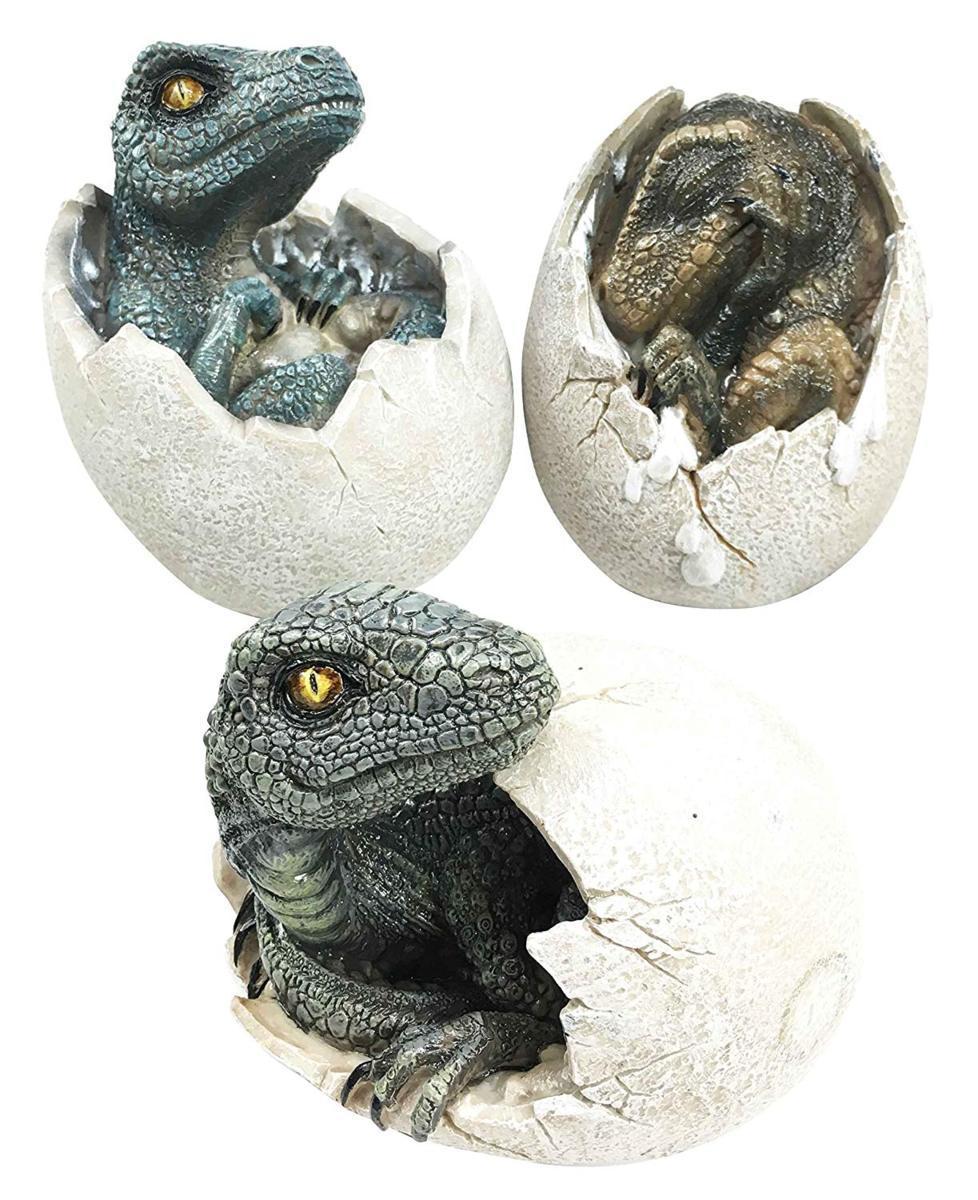 ジュラ紀時代の捕食者「ヴェロキラプトルとティラノサウルス・レックス」の化石愛好家の為の孵化する卵 3セット 恐竜置物彫刻(輸入品)