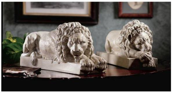 ヴァチカン宮殿の2匹のライオン 18世紀アントニオ・カノーヴァ作 彫刻 彫像/ Lions from the Vatican Sculptures(輸入品