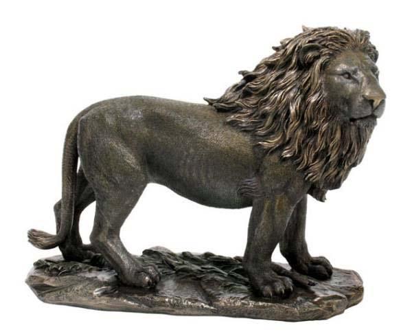 アフリカのサバンナ 百獣の王 ライオン 彫刻 彫像/Unicorn Studios WU74800A4 Lion Bronze Sculpture(輸入品