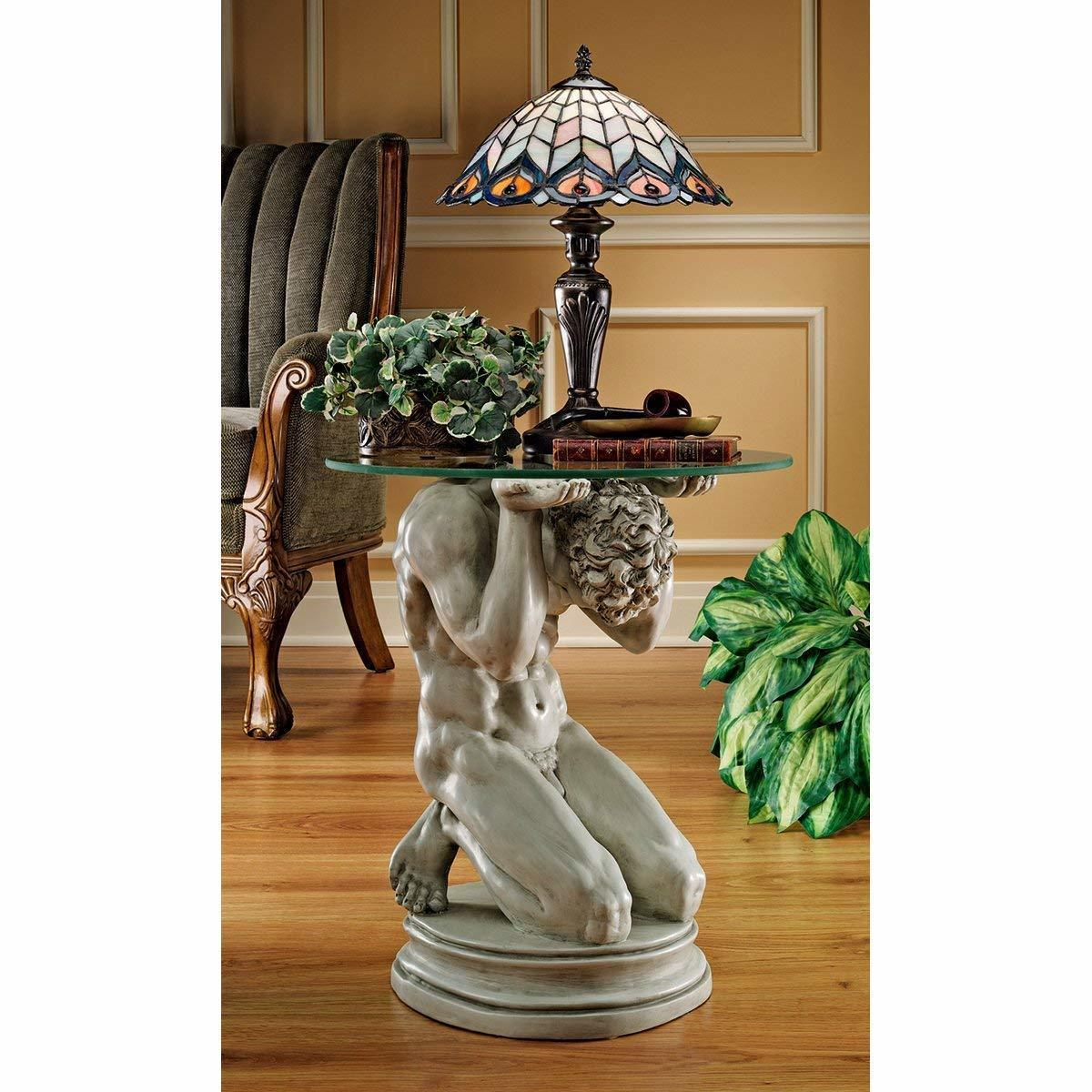 新古典主義の男性ヌード 台座彫刻 ガラステーブル彫像 デザイン・トスカノ製 / Neoclassical Male Occasional Table(輸入品