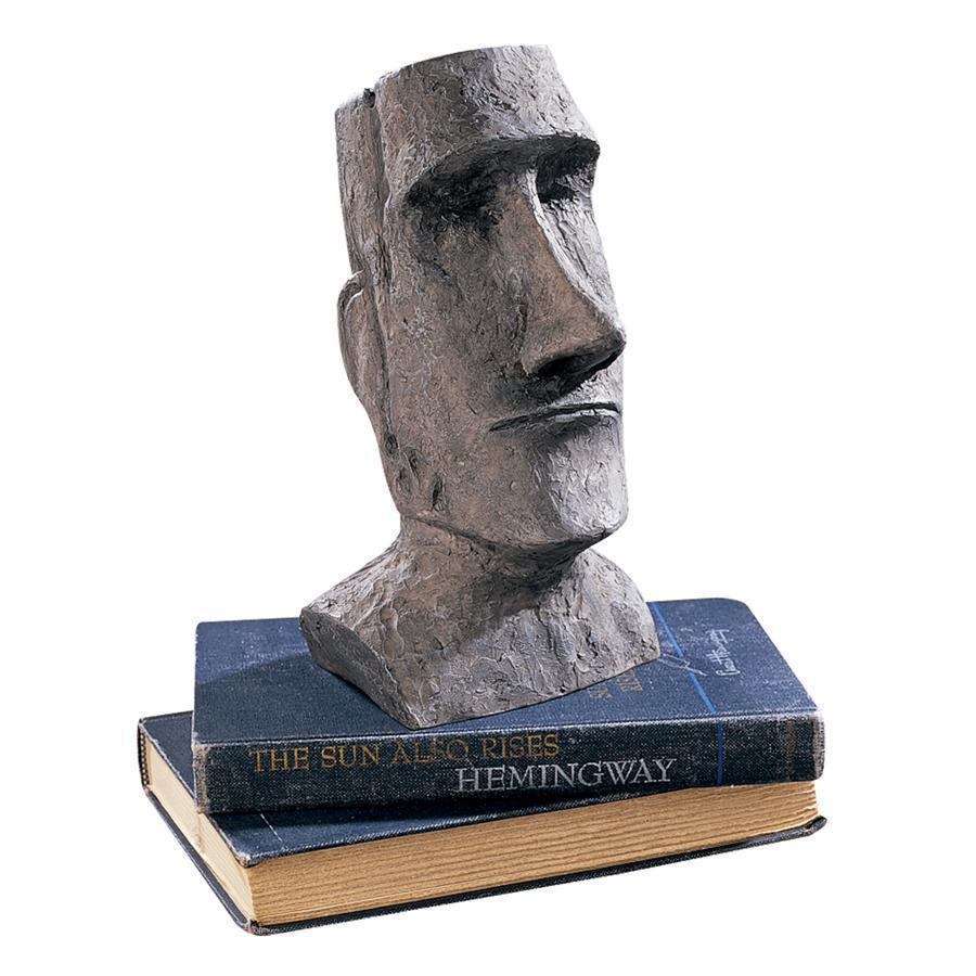 デザイン・トスカノ製 イースター島 モアイ像 AHU・アキビ モアイモノリス ガーデン像、灰色のストーン風彫刻 彫像(輸入品)