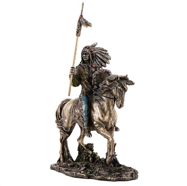 ネイティブアメリカンインディアン- マンダン族 インディアン酋長彫像 彫刻/ Native American Indian Sculpture - Mandan (輸入品)
