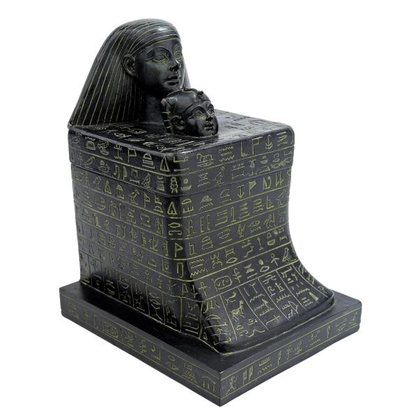 古代エジプト文明 ネフェルレとセネンムートの ブロック彫刻ボックス 神殿ヒエログリフ 彫刻 彫像/ Senenmut with Neferure Block(輸入品