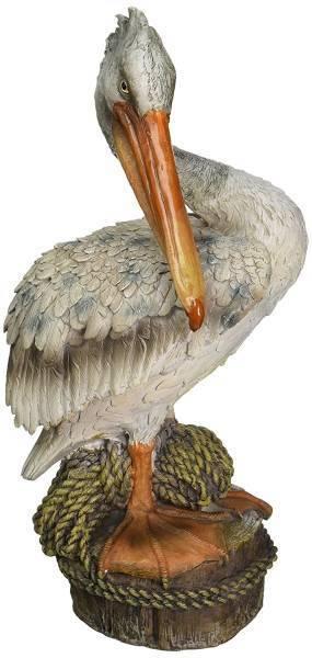 デザイン・トスカノ製 オーシャンサイドピア 埠頭に佇む ペリカン(伽藍鳥) 沿岸装飾 ガーデン彫刻 彫像(輸入品)
