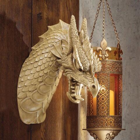 洋風彫刻 ドラゴン(龍)の頭部 壁掛け 彫像 ファンタジー装飾雑貨 インテリア/ Head of the Beast Dragon Wall Sculpture(輸入品