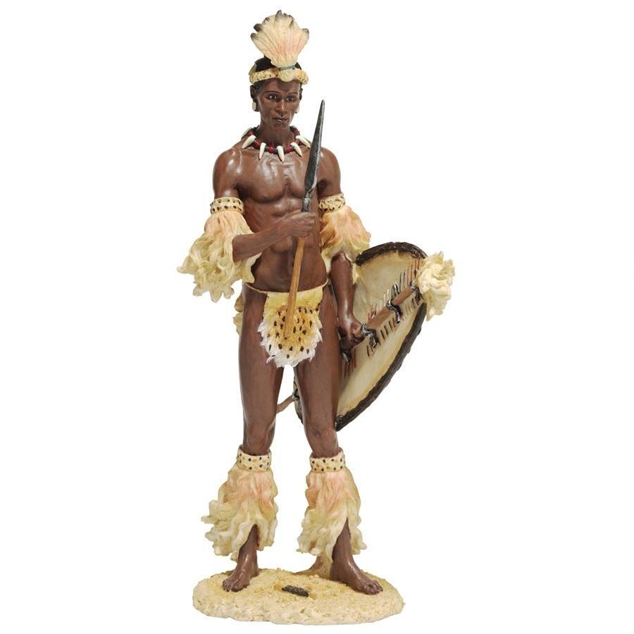 シャカ (ズールー王国初代国王) アフリカ人 ズールー族の戦士 オブジェ彫刻 民族衣装 総則フィギュア 彫像(輸入品