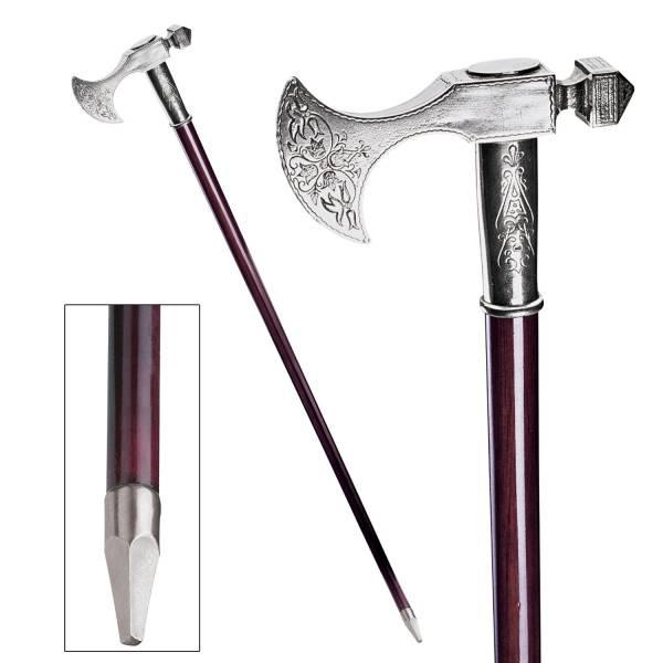 エレガントなスティッキ ピューター製の杖 ババロア(中世風) ウォーキングステッキ 紳士風/ Bavarian Walking Stick [輸入品